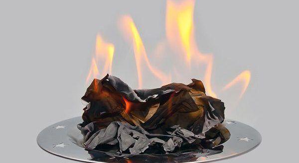 Сжечь бумагу в таредке